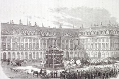 Vendome Column Being Demolished, 1871, City of Paris, France