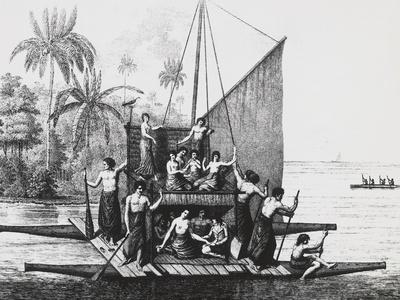 Double-Hulled Canoe, Tonga Island from Atlas Du Voyage a La Recherche