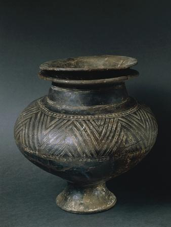 Cinerary Urn Decorated with Geometric Pattern