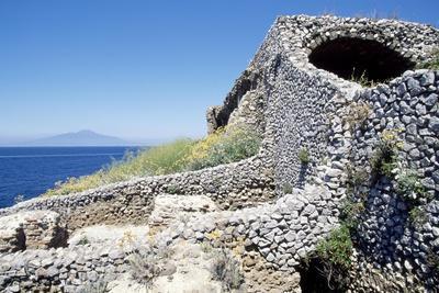 View of Ruins of Villa of Pollius Felix, Capri, Campania, Italy