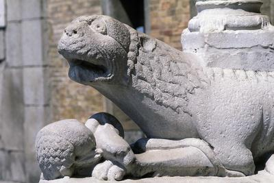 Lodi Cathedral, Porch, Column-Bearing Lion, Lodi, Lombardy, Italy