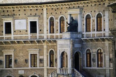 Central Loggia of Priory Palace with the Bronze Statue of Pope Sixtus V, Fermo, Marche, Italy