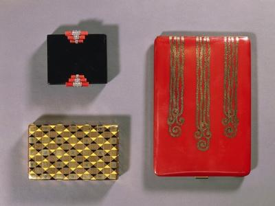 Black Enamel, Coral and Diamond Compact by Cartier