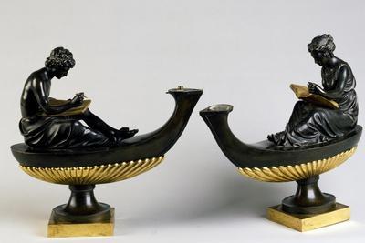 Pair of Lamps, Gilt Brass