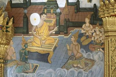 Mural Painting of the Interior of the Wat Inpeng Buddhist Temple in Vientiane, Laos
