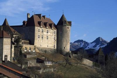 Switzerland, Fribourg Canton, View of Gruyeres Castle