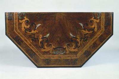 Top of Wall Table with Walnut Veneer Finish and Inlaid with Plant Motifs, Central Italy