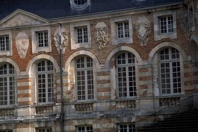 Facade Above Grand Staircase of Castle of Saint-Fargeau, Burgundy, Detail, France