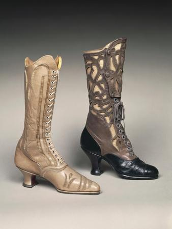 Close Up of Women's Boots in Use in 1800s