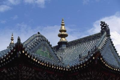 Mongolia, Ulan Bator, Architectural Detail of Lamaist Gandan Temple