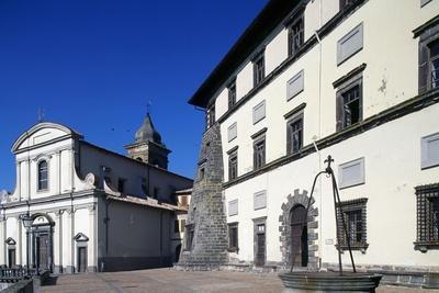 Farnese Palace with Collegiate Church of Santa Maria Maddalena in Background, Gradoli, Lazio, Italy