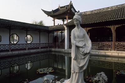 Mochou Lake, Water Garden with Water Lilies and a Statue of Mochou in Nanking or Nanjing, China