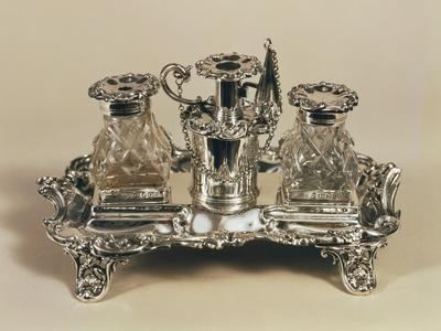 Silver Desk Set with Inkpots and Silver and Crystal Powder Holder