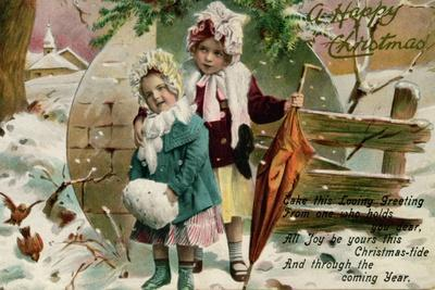 Children in the Snow, Victorian Christmas Card