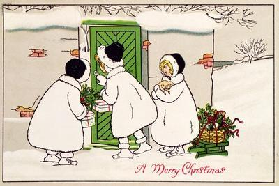 A Merry Christmas: Three Little Girls with Christmas Fayre, Victorian Postcard