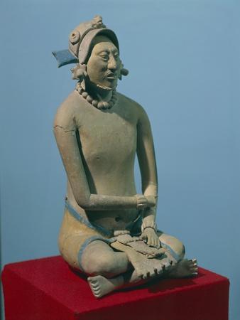 Mexico, Jaina Island, Terracotta Statuette of Seated Noble