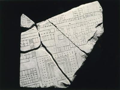 Forma Urbis Severiana, Detail Featuring Portuense Street and South Bank of Tiber Sculpture