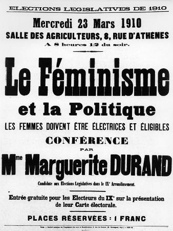 French Legislative Election Campaign Poster, Feminism and Politics