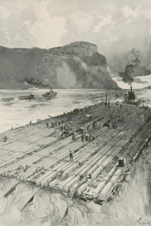 A Lumber Raft Being Towed Down the St. Lawrence