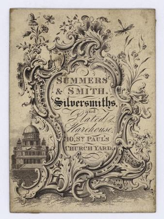 Silversmiths, Summers and Smith, Trade Card