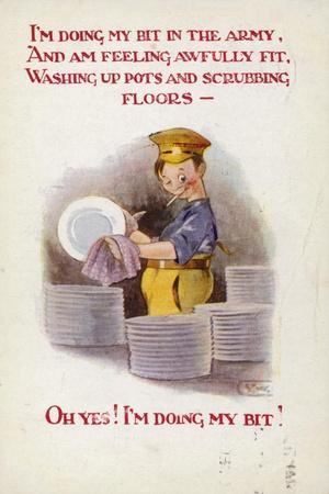 Ww1 Cartoon Postcard of Soldier Washing Dishes
