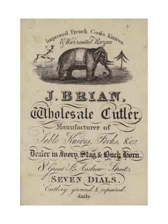Cutler, J Brian, Trade Card