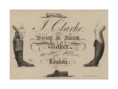 Boot and Shoemaker, J Clarke, Trade Card