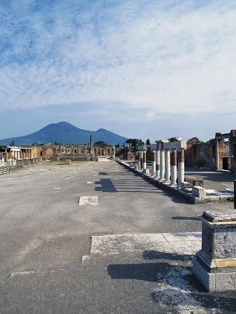 Forum with Vesuvius in Background, Pompeii