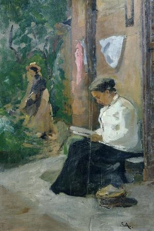 Woman Reading Outside the Door of the House