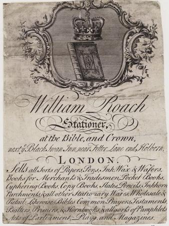 Stationer, William Roach, Trade Card