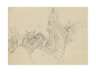 Medieval Figures Staring at an Elf