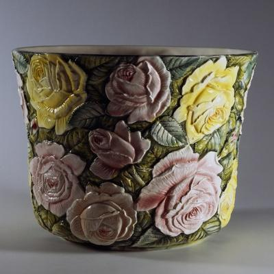 Cachepot Decorated with Rose Flowers