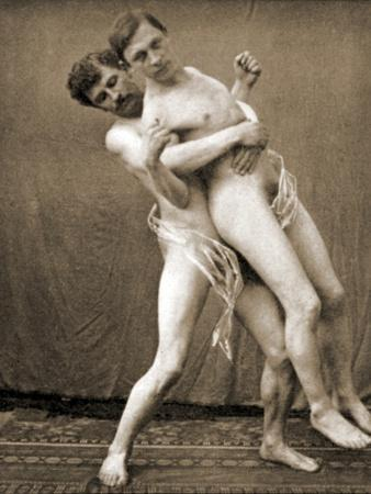 Wrestlers Demonstrate the Waist Hold, C.1910
