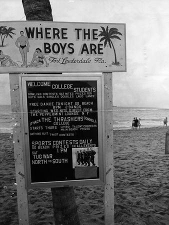 Welcome Sign for Spring Breakers, 1962
