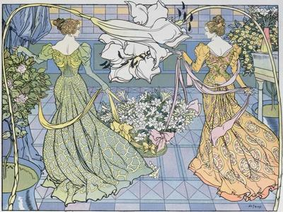 Women Surrounded by Flowers, C. 1900