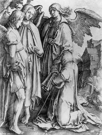Saint Kneeling before Angels