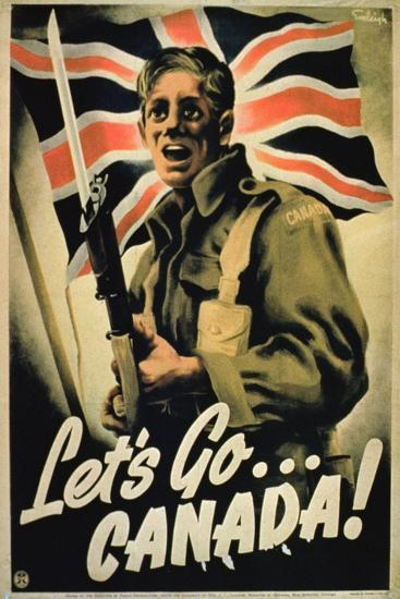 Go To Ww Bing Comworld: Let's Go Canada!', 1st World War Poster Giclee Print At