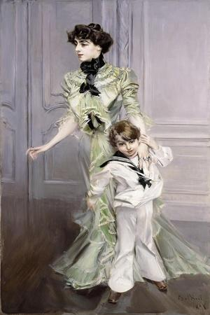 Portrait of Madame Hugo, and Her Son, 1924