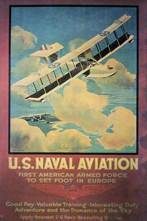 Ww1 Us Naval Aviation Recruiting Poster, 1918