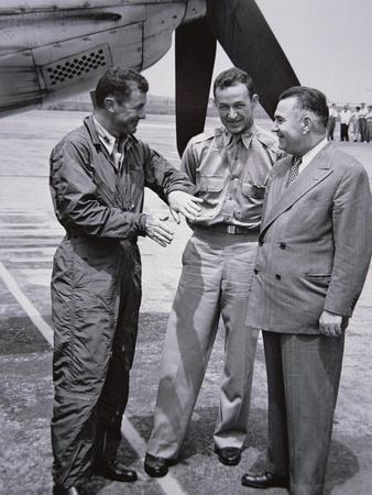 Captains Yeager and Fitzgerald with Larry Bell