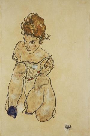 Sitting Girl in Underwear, 1917