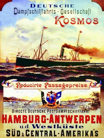 Poster Advertising Kosmos Steamship Company, 1901