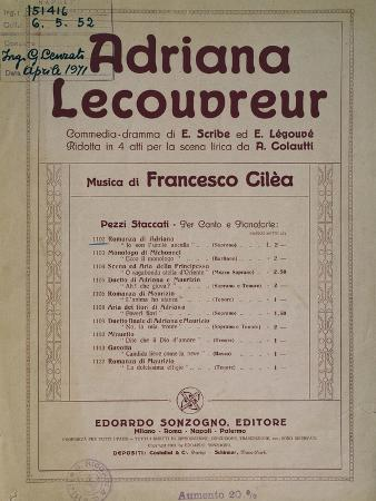 Title Page of Adriana Lecouvreur
