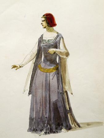 Costume Sketch for Adele in Il Pirata
