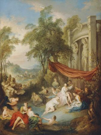 Nymphs Bathing at a Pool by a Loggia