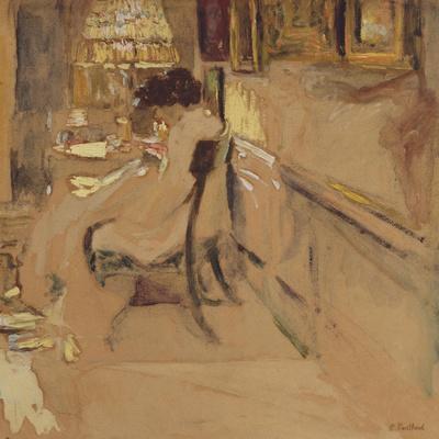 Madam Hessel Sewing under the Lamp, C.1905