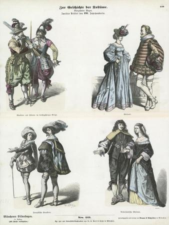European Costumes, Mid 17th Century