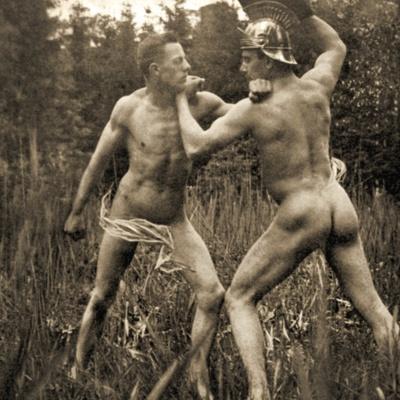 Fighting/Battle Pose with a Roman Helmet, C.1910