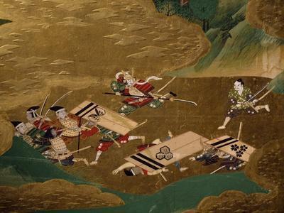 Samurai's Enemies on Run, Detail from Byobu
