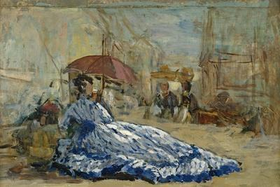 Woman in a Blue Dress under a Parasol, C.1865